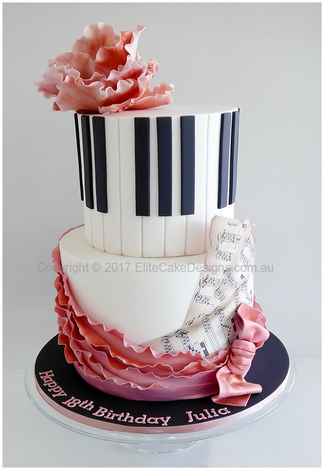 Piano classical music theme birthday cake designed with elegance