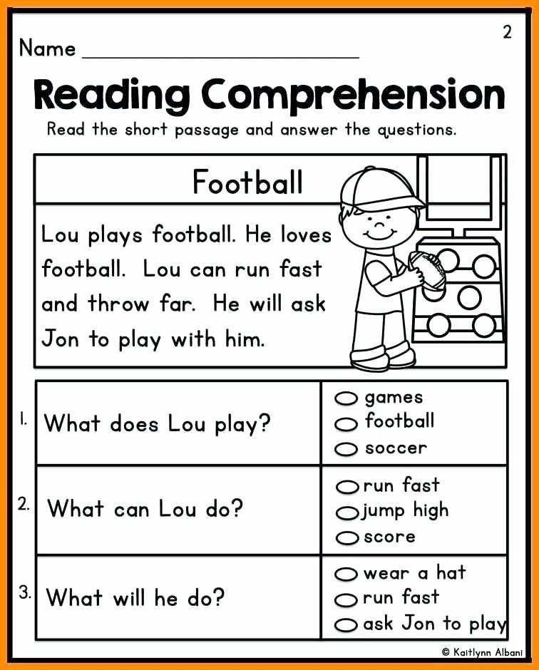 Kindergarten Reading Comprehension Worksheets Pdf