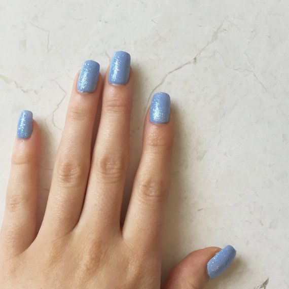 Baby Blue Glitter Fake Nails - Glue-On Gel Nails - Luxe Press-On ...