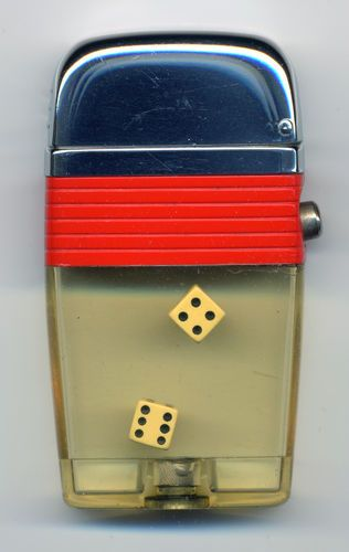 Vintage Scripto VU Lighter with rolling dice and red stripe.