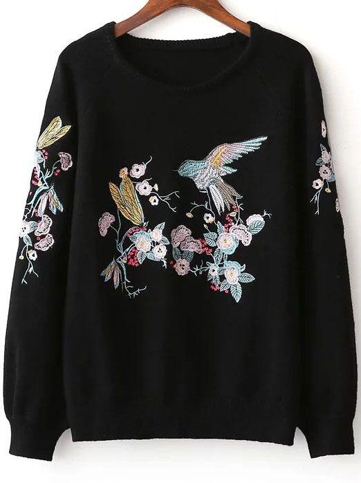 Shop Black Bird Embroidery Raglan Sleeve Sweater Online Shein Offers Black Bird Embroidery Raglan Sleeve Sweater More To Fit Yo Stickerei Mode Modestil Tuch