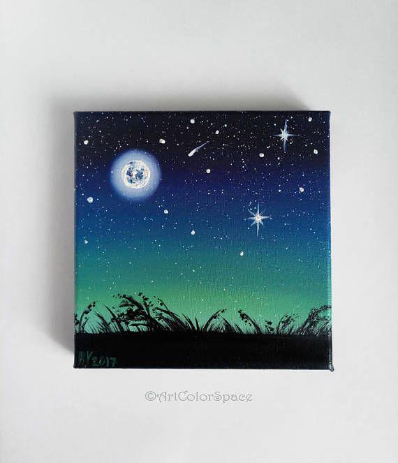 Mond Malerei Leinwand kleine Malerei Nacht Himmel Weihnachtsgeschenke Vollmond Leinwand Mond Kinderzimmer Mond Kunst Nacht Mond Cyber Montag Verkauf #paintyourownpottery