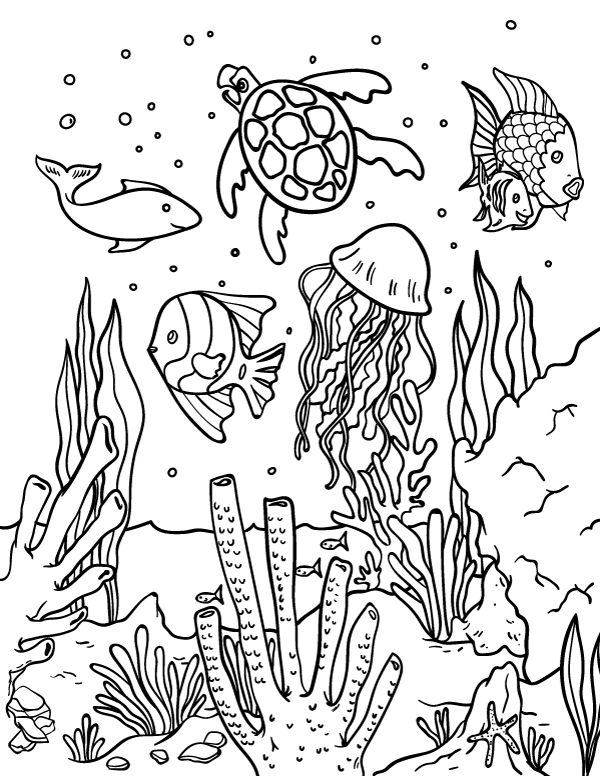 Free printable ocean coloring page. Download it from https