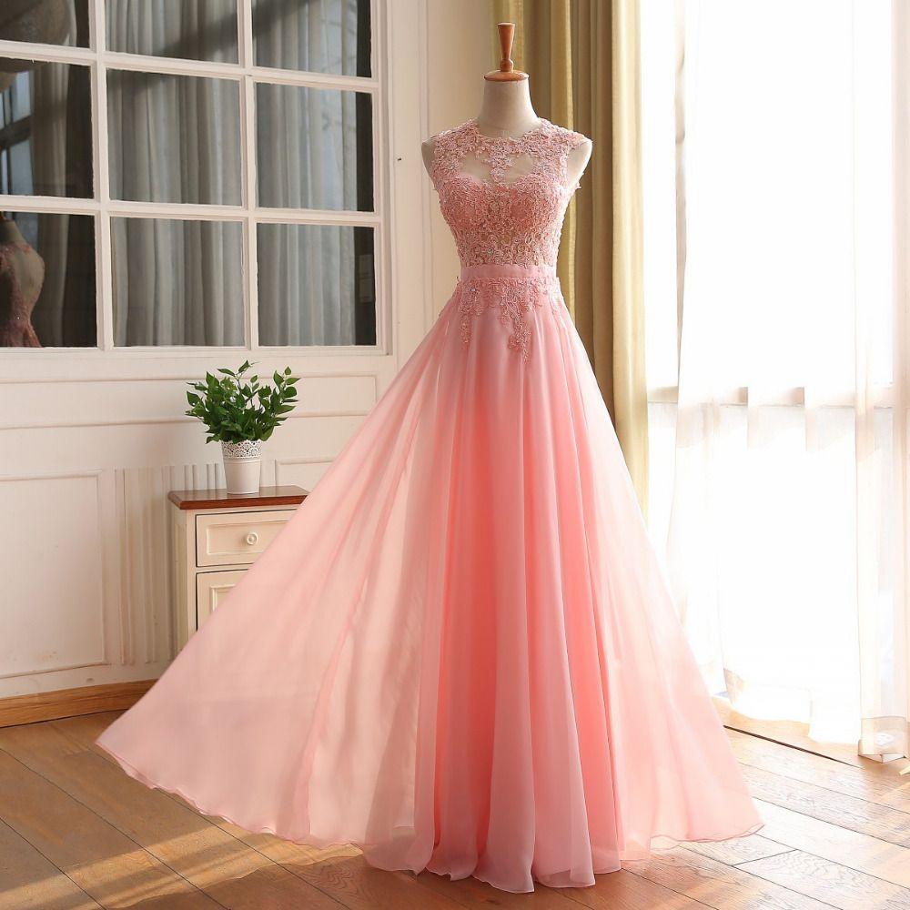 Barato Robe De soirée A linha rosa Chiffon longo festa vestido De ...