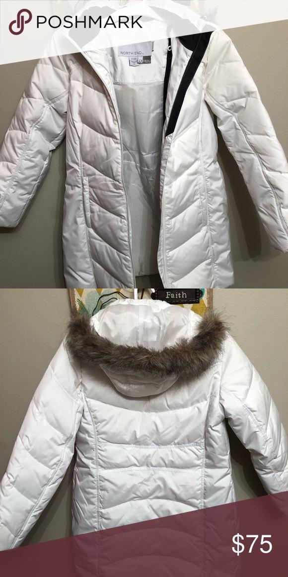 0bd3d14c8 North End Jacket White down coat with faux fur trim, removable hood ...