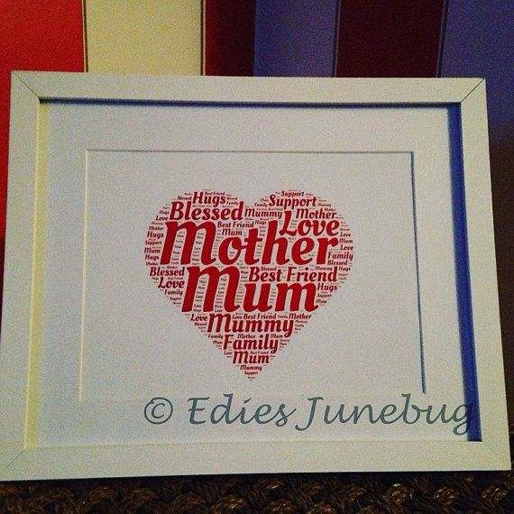Framed Mum Word Cloud Perfect For Mothers Day The Frame Is Optional White Or Black And Measures 10x8 In Size With A Mount The Best Friend Love Fitness How To Run