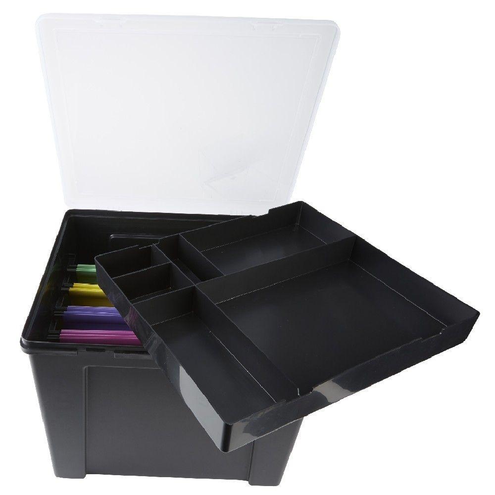 Boite De Classement En Plastique 8 Dossiers Noir Boite De Classement Dossier Boite Plastique
