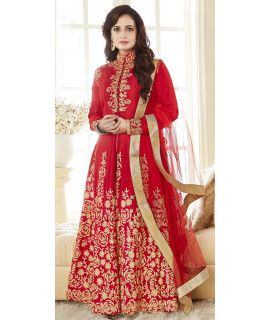 Delighting Red Silk Anarkali Suit With Dupatta.