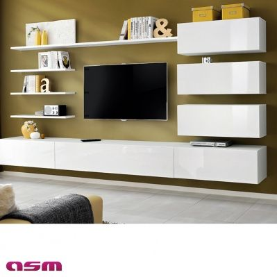 vente priv e de ensemble suspendu meuble tv 5 tag res 3 rangements blanc sur brico. Black Bedroom Furniture Sets. Home Design Ideas