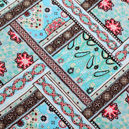 Boho Patchwork Baby Cotton Ribbed Knit Fabric