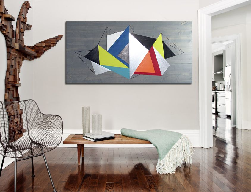 Modern wall art by Laura Ashley, seen on Etsy for $215 (48x24). All art is handmade with solid wood, paint and metal accents.