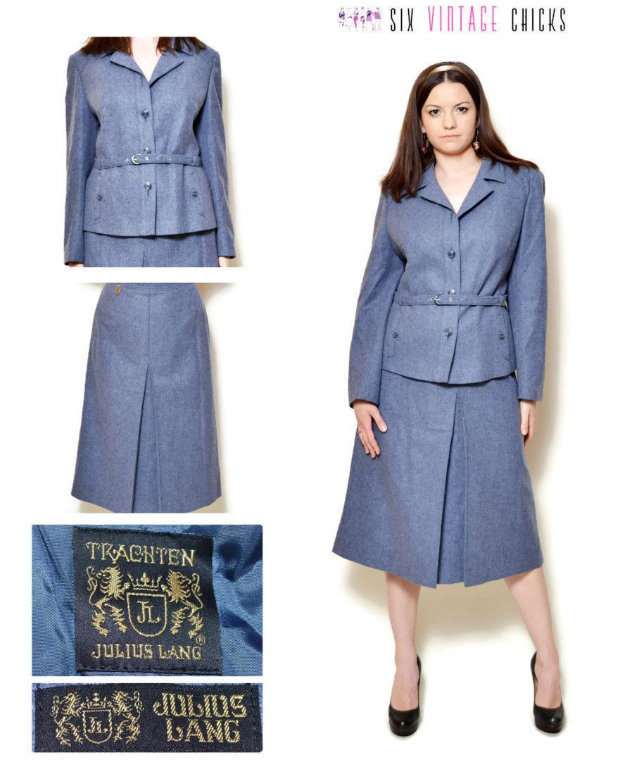 Skirt suit women blue blazer skirt set mini skirt vintage 80s clothing retro womens clothing suit jacket office clothes Size XXL by SixVintageChicks on Etsy