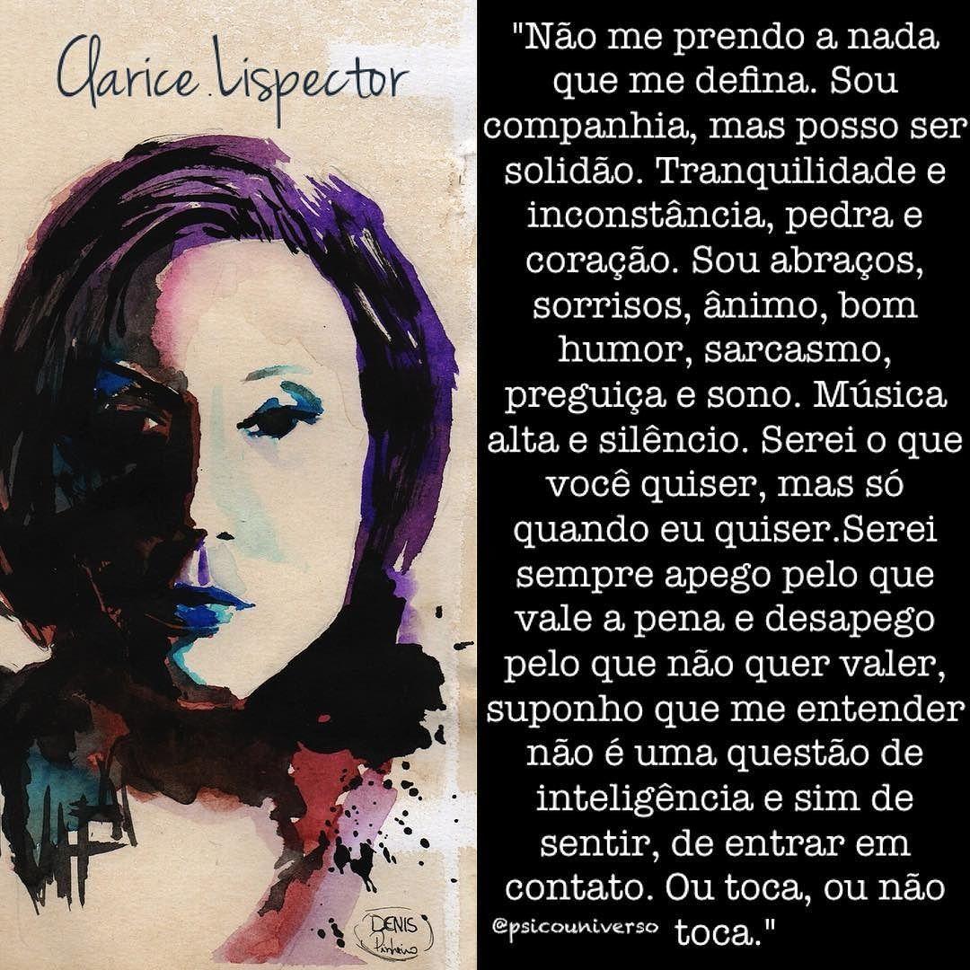 """regram @psicouniverso Clarice Lispector  arte de Denis Pinheiro  Texto extraído do site: """"http://borboletaaando.tumblr.com/"""" #boanoite #ClariceLispector boanoite #palavras #eu #autenticidade #psicouniverso #direito #psicologia #vida #entrelinhas #escritora #sentimento #sentir #histórias #vida #reflexão #autoconhecimento"""