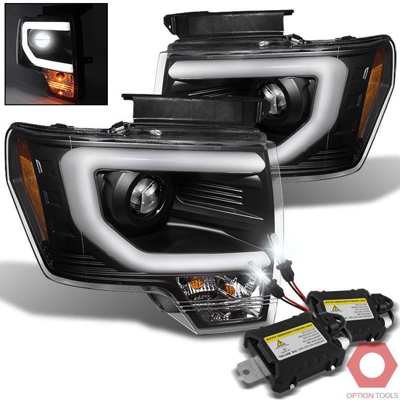 Fits 09 14 F150 Led Light Tube Projector Headlights Black 6000k Xenon Hid Kit Led Tube Light Projector Headlights F150