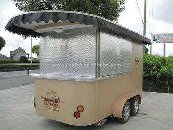 Stainless Steel Mobile Commercial Coffee Cart Convenient New Style Food Kiosk Carts For Sale CE View Hamburgers