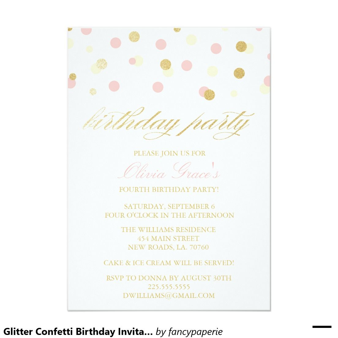 Glitter confetti birthday invitations glitter confetti confetti glitter confetti birthday invitations stopboris Image collections