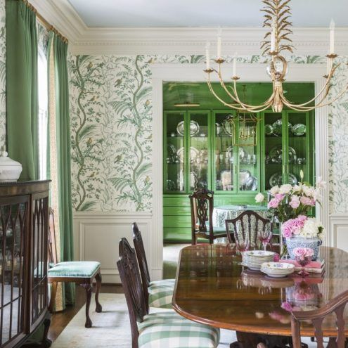 Palm Beach Chic By Wendy Valliere The Glam Pad Green Dining Room Dining Room Wallpaper Dining Room Decor Bird and thistle wallpaper green