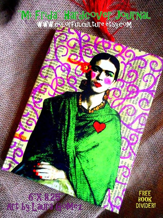 Diario tapa dura mi FridaNotebook arte por por ColorfulCulture