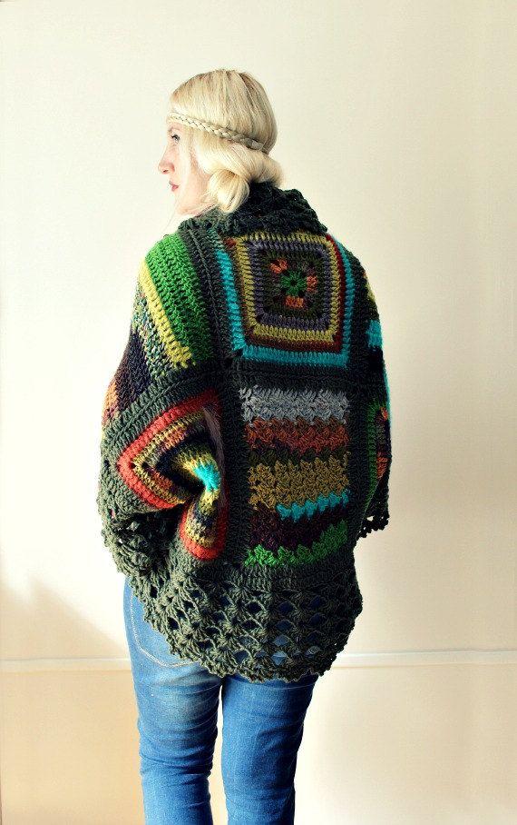 Afghan Crochet Cardigan | ponchos | Pinterest | Wassermann, Häkeln ...