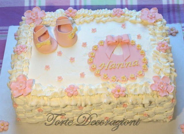 Torte e Decorazioni Torta battesimo bimba alla panna