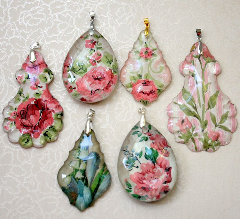 Chandelier crystal pendants using Mod Podge by Mitzi Curi at www ...