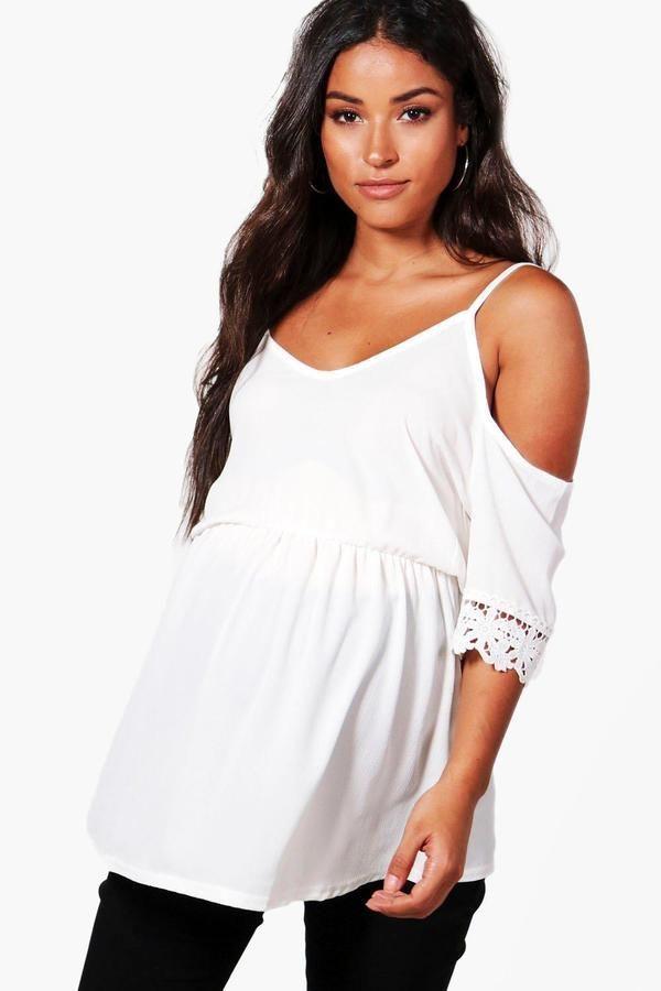 0fb4f869b7b01 Maternity Open Shoulder Crochet Lace Top | Outfits | Crochet lace ...