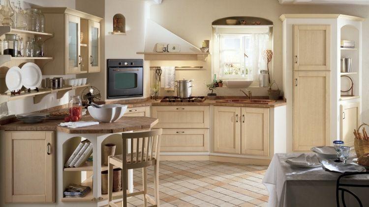 Rustikale Küchenmöbel ~ Cremeweiße küche im rustikalen stil mit arbeitsplatte aus terracotta