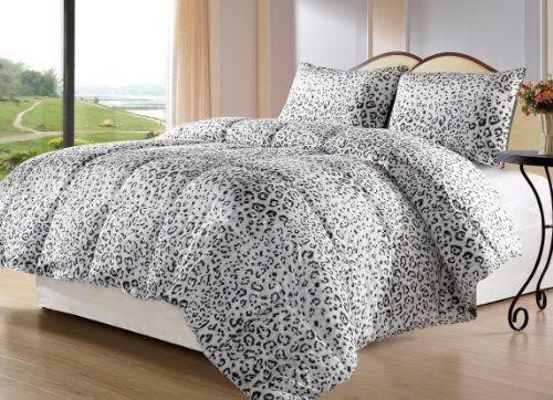 Snow Leopard 3 Piece Reversible Down Alternative Comforter Set