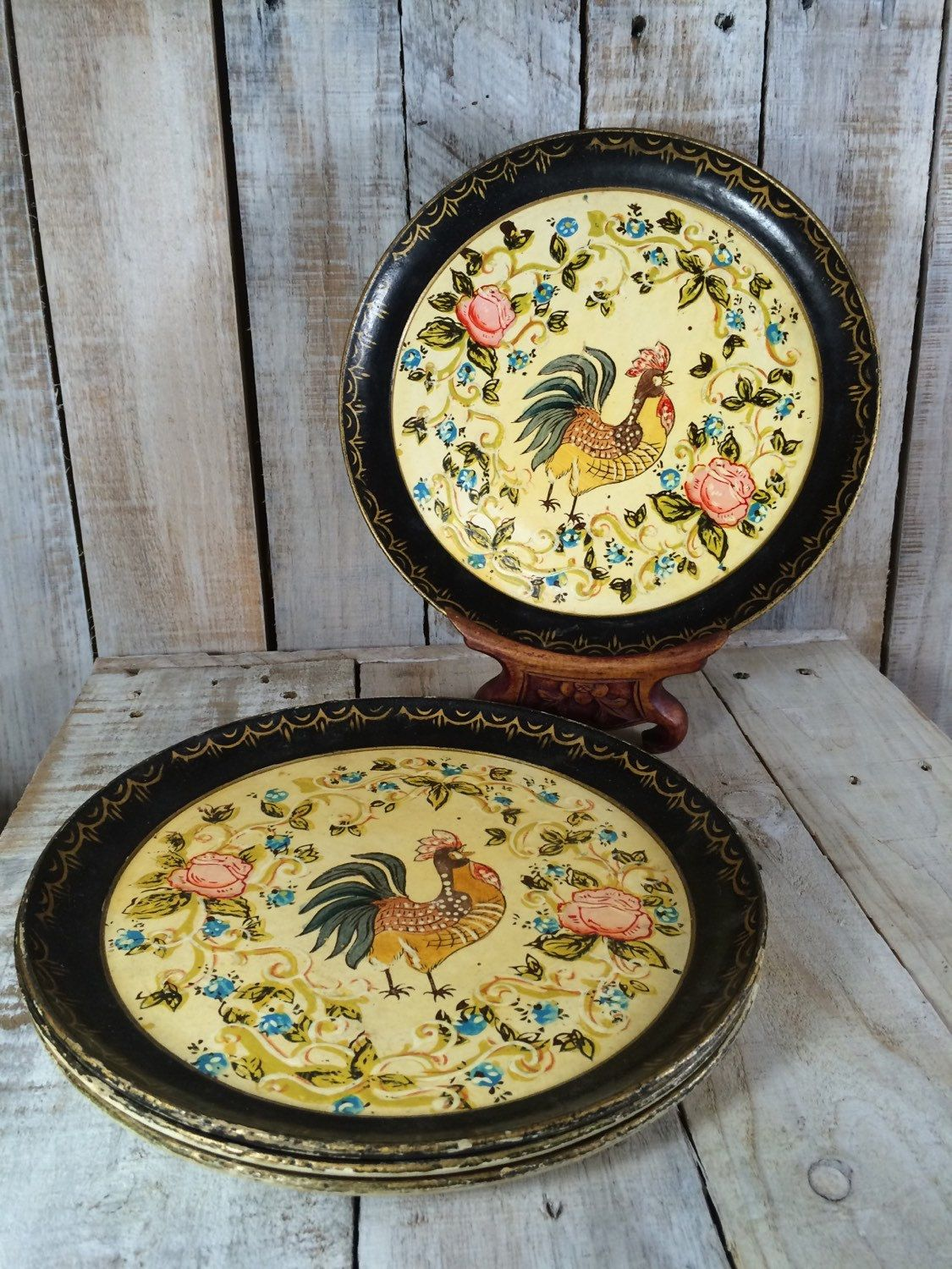 Rooster Plates, Rooster Painting, Rooster Decor, Rooster Kitchen ...