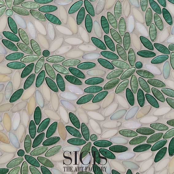 Aviax Green (Cut45x45)_by Sicis Neocolibri Collectionwith some tesserae in marble