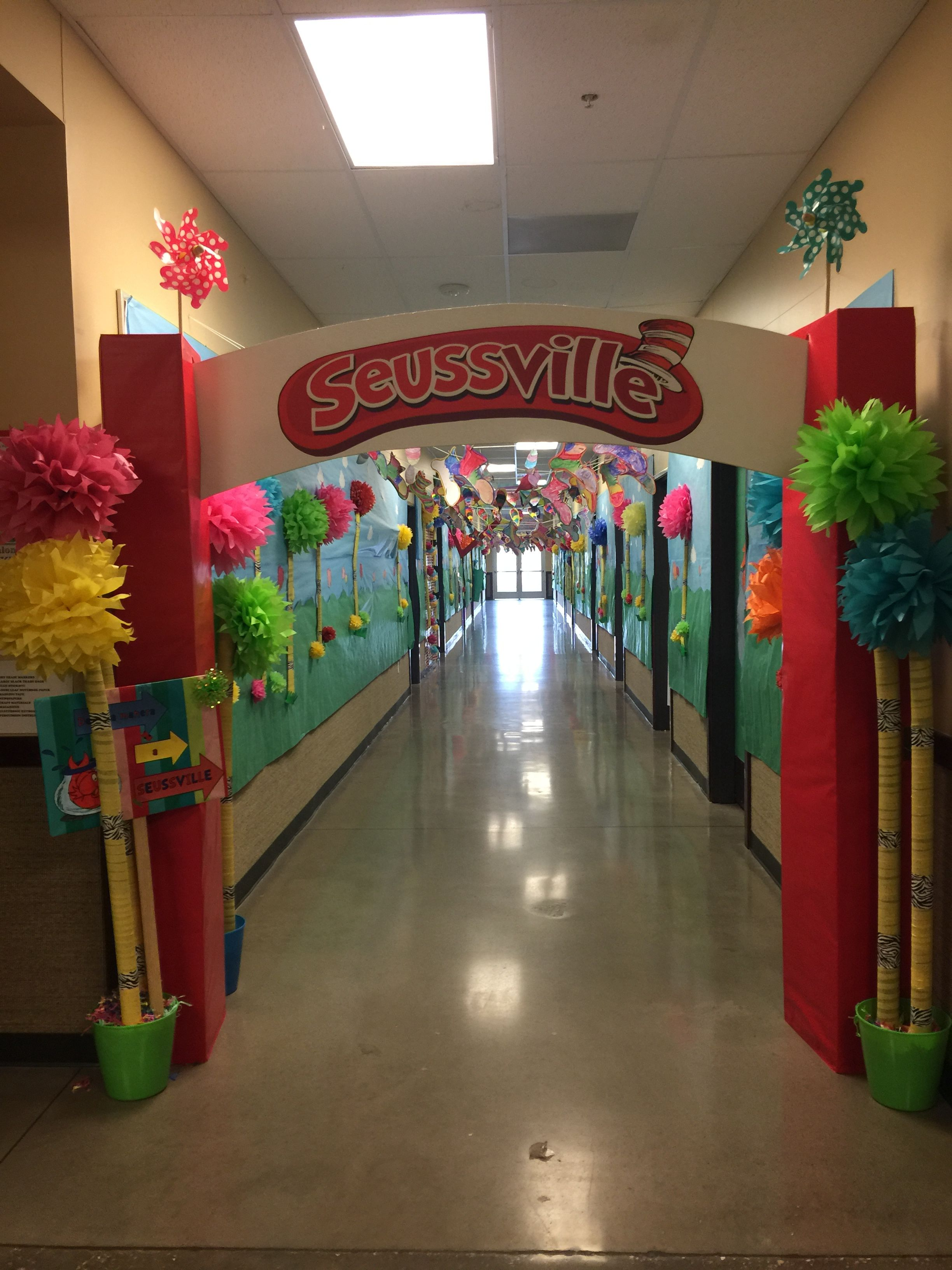 Seussville Hallway Decorated By Parents And Teachers