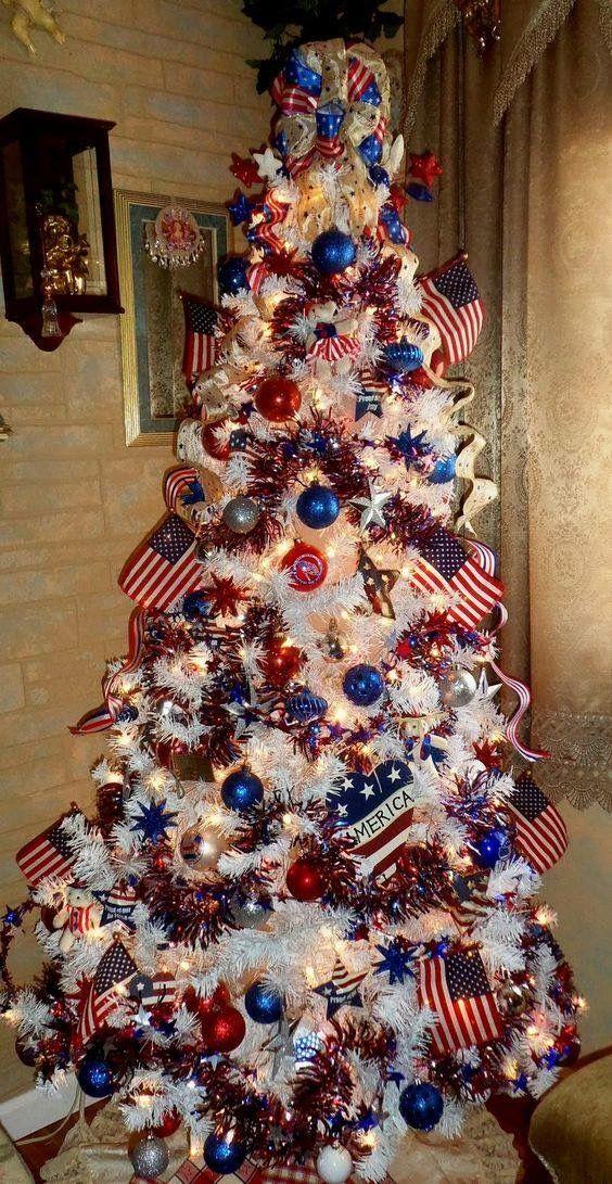 RED WHITE BLUE XMAS TREE Christmas Tree Pinterest Xmas tree - christmas decor pinterest