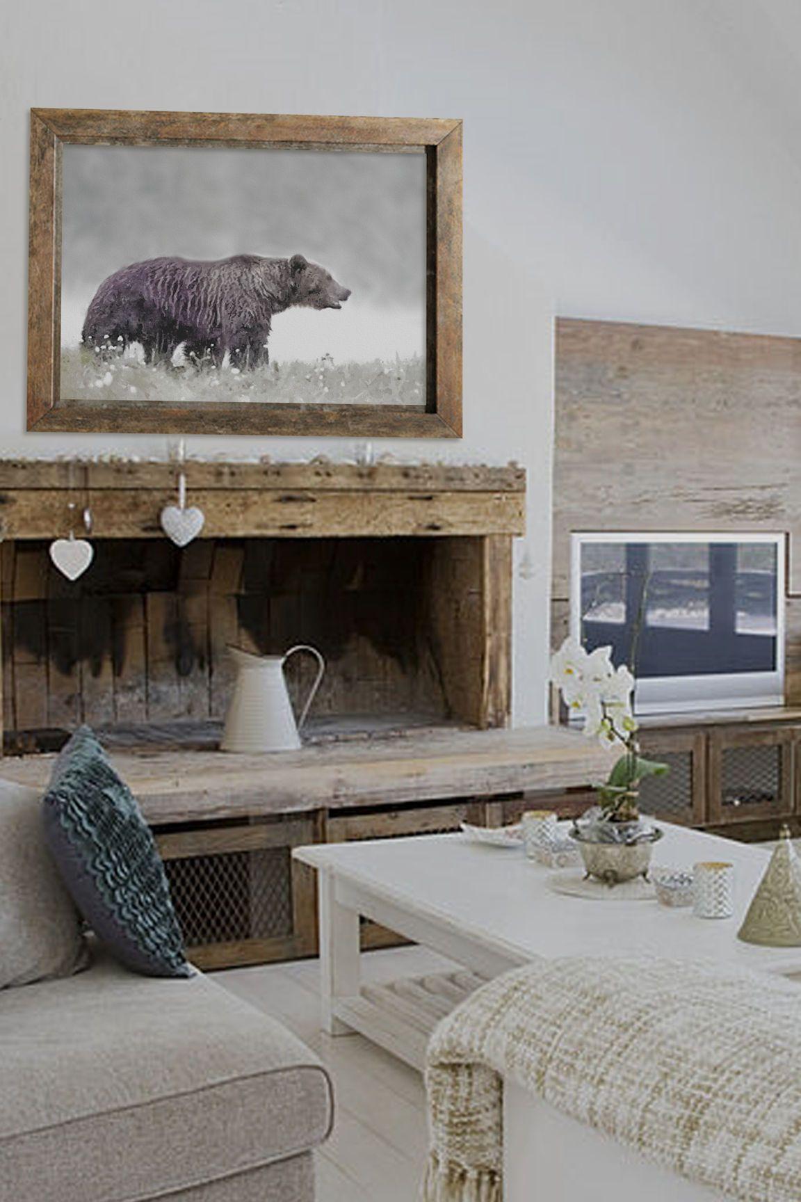 Gift For Men Nursery Decor Printable Wall Art Bear Print Etsy In 2021 Rustic Wall Decor Living Room Wall Designs Rustic Walls