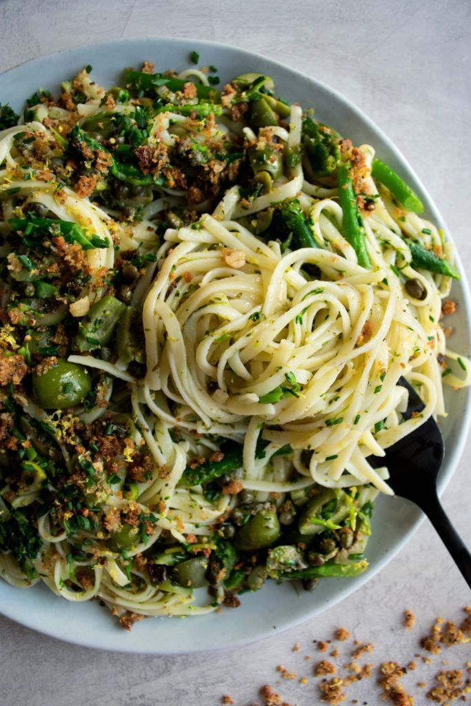 Photo of Green Olive Linguine with Broccolini & Lemon Breadcrumbs – The Original Dish