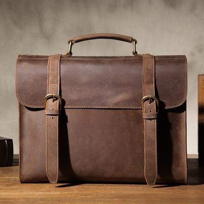 3142d64b80 Handmade Genuine Gray Brown Leather Briefcase Messenger Bag Men s Laptop Bag  Handbag YS102