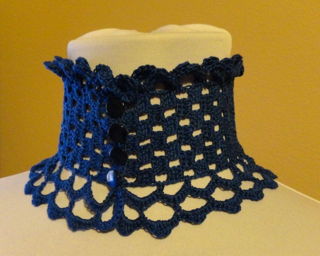 Royal Blue Lace Crochet Victorian Edwardian Renaissance Steampunk ...
