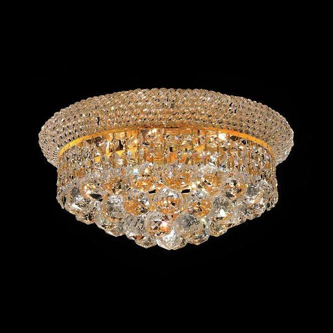 "Elegant Lighting 1800F14G/SA Primo Collection Flush Mount Light Fixture D14"" x H8"" Gold Finish (Swarovski Spectra Crystals)"