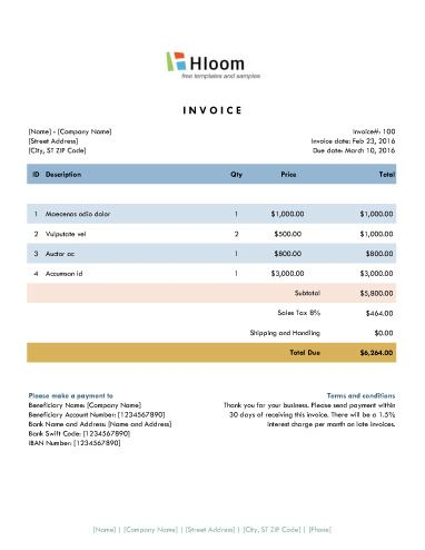 Sunset Excel Invoice Template Invoice Templates Pinterest