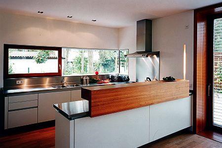 Panoramiczne Okno W Kuchni Półwysep Interior Design In