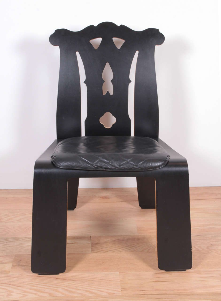 Charmant For Sale On   Black Laminate Plywood, Black Leather Seat.