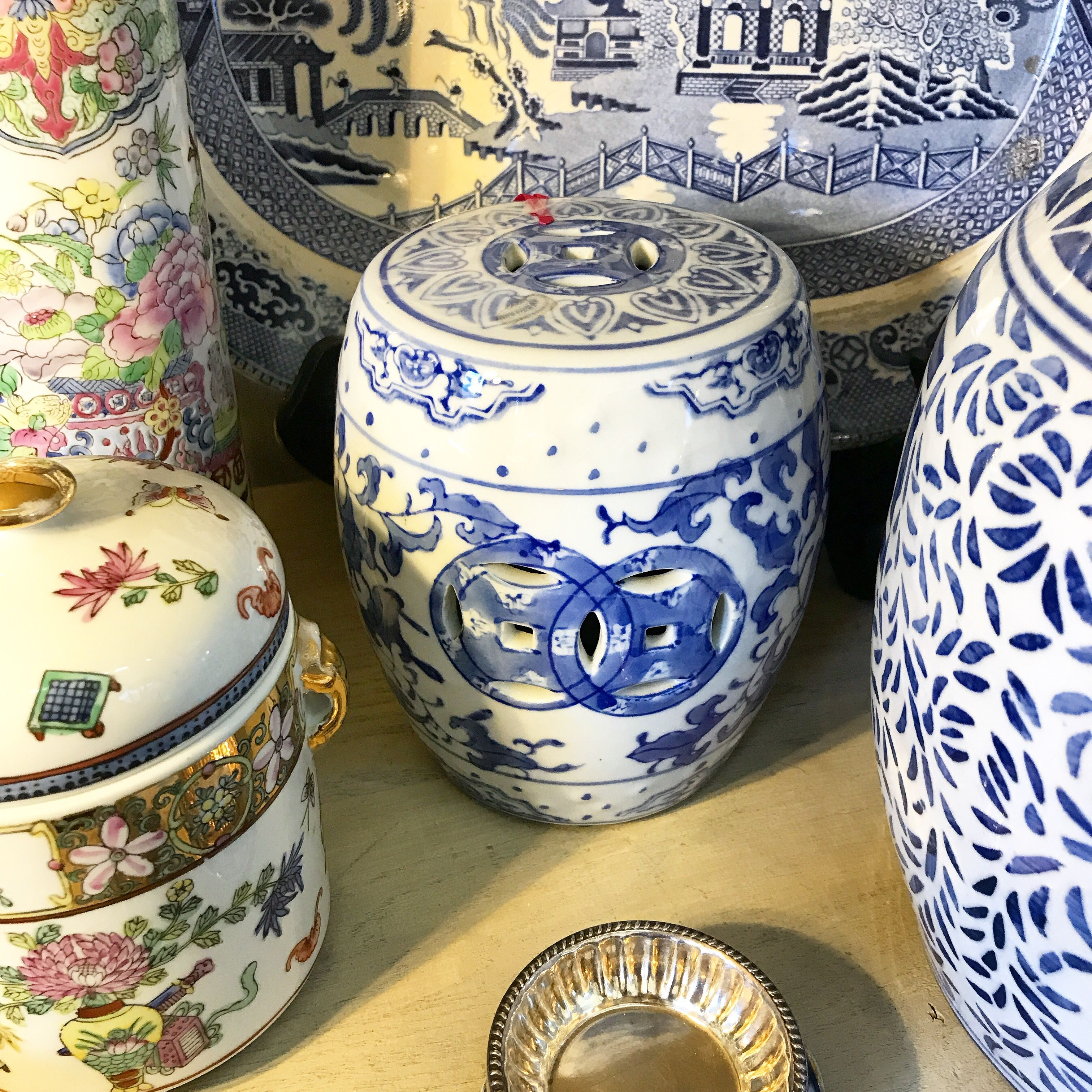 Enjoyable Miniature Blue And White Chinese Garden Stool 4 5X6 25H Pabps2019 Chair Design Images Pabps2019Com