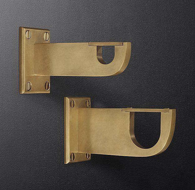 Bayonne Solid Brass End Brackets Set Of 2 Burnished Brass