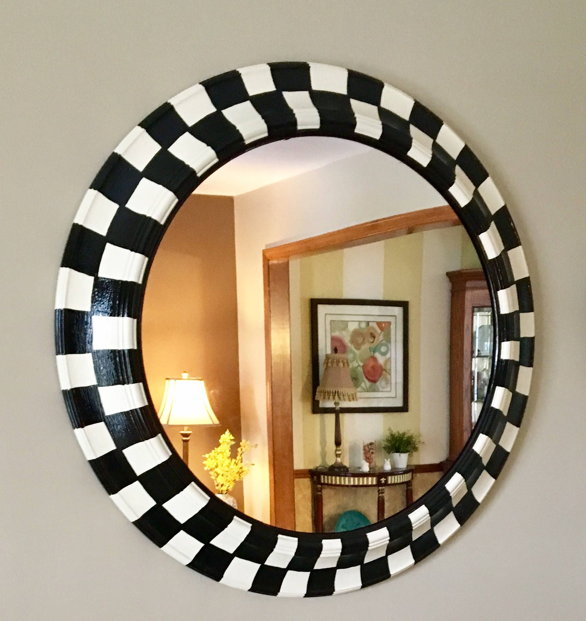 Whimsical Painted Mirror Round Black And White Checked Mirror Wall Mirror Hand Painted Home Decor Whimsical Painted Furniture Painting Lamps Decor