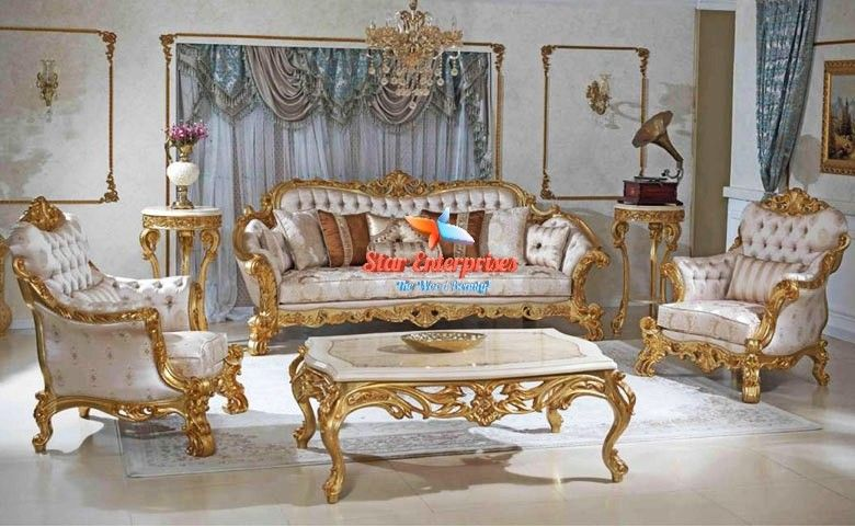 This Is New Designed Wooden Sofa Set In Teak Wood In Golden Colour By Star Enterprises Contact Us For Further Informatio Luxury Sofa Classic Sofa Sets Sofa Set
