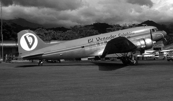 Aircraft Douglas DC-3 and Zeppelin on Runway Old Photo