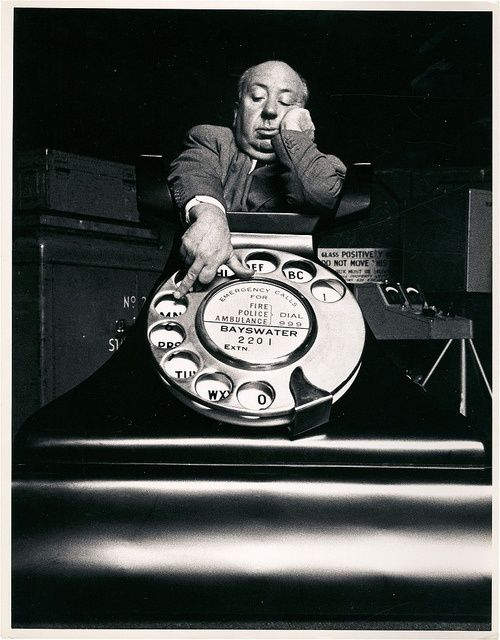"""Alfred Hitchcock promo shot for """"Dial M for Murder"""", 1954"""