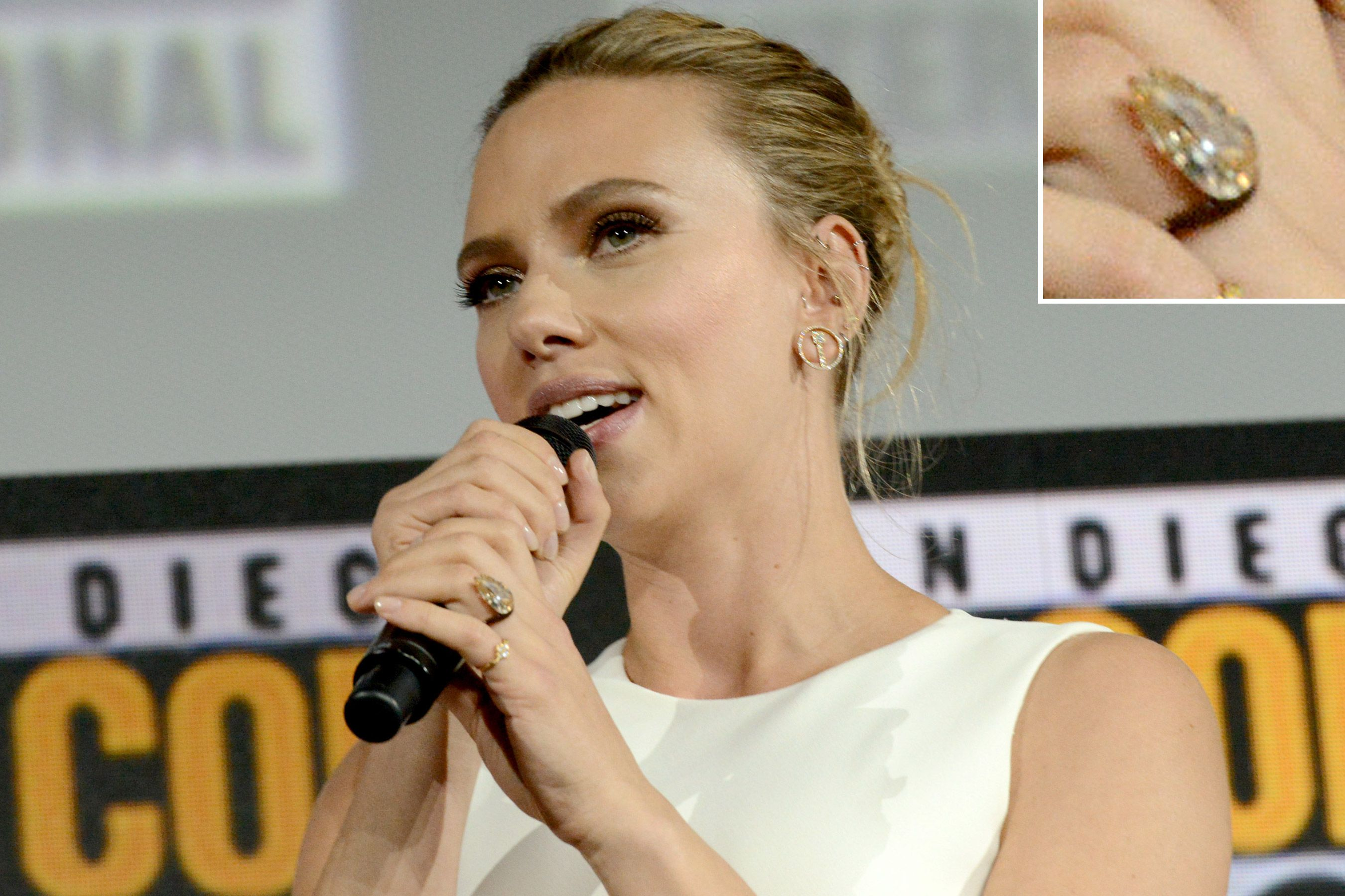 Scarlett Johansson Debuts Enormous Engagement Ring from