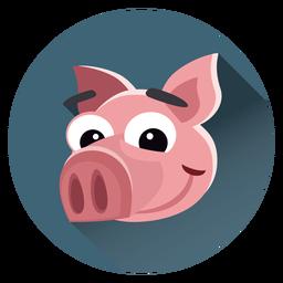 Cerdo personaje de dibujos animados crculo  Personaje blanco 3D