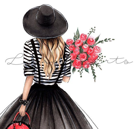 Photo of Paris Girl Wall Art Fashion Illustration Black Red Wall Art Black Dress Art Paris Bedroom Decor Girly Wall Art Print Teen Girl Room Decor