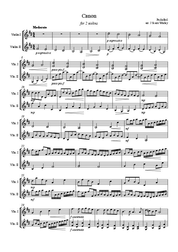 All Music Chords 1812 overture music sheet : Violin Duet - Canon in D (for 2 violins) | Music(als) | Pinterest ...